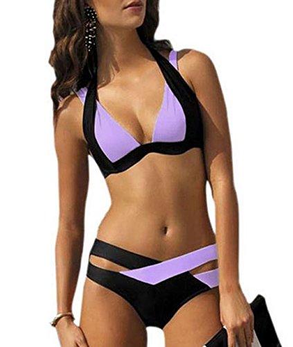Women Crisscross Color Block Padded Bikini (XXL, Black&Purple)