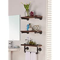 Armen Living LCCOSH20 Conrad 20 Accent Shelf in Walnut Wood Finish with Grey Piping