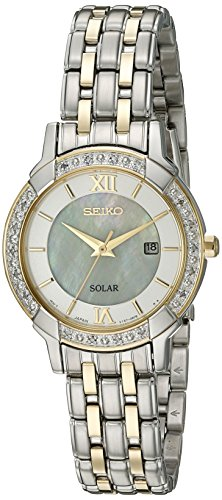 Seiko Women's 'Sport Watches' Quartz Stainless Steel Dress Watch (Model: SUT278) (Mother Of Pearl Womans Watch)