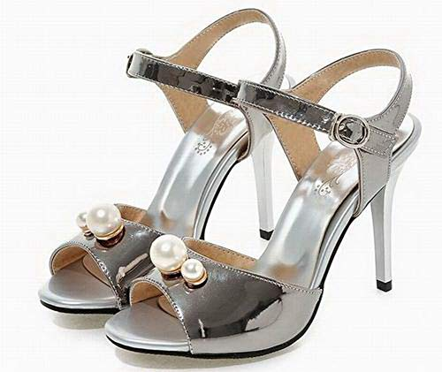VogueZone009 High Toe Pu Sandals Open Solid CCALP015363 Silver Women's Buckle Heels rgxrX
