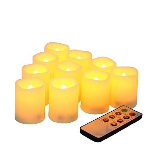 10 Pack Battery Operated Electric Flameless LED Votive Candles with Remote and Timer Realistic Flickering Set Bulk for Black Friday Christmas New Year Wedding Party Decorations Batteries Included]()