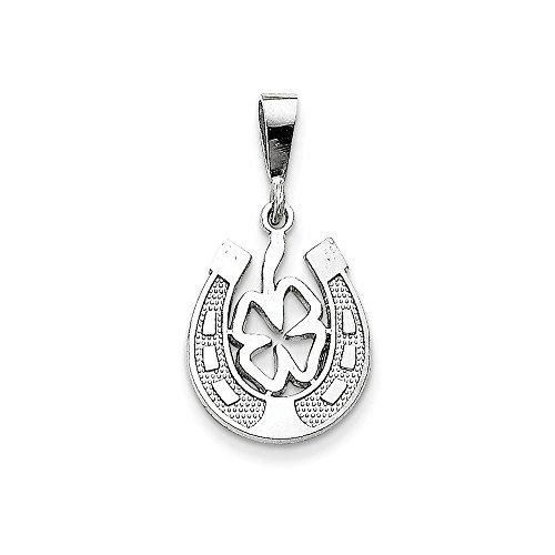 Qg White Gold Horseshoes - Jewelry Stores Network 14k White Gold Good Luck Clover Inside Horseshoe Pendant 25x15mm
