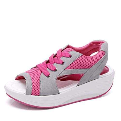 Crimeng Women Platform Sandals Casual Mesh Breathable Slingback Sandals Female Wedges Lace Platform Shoes