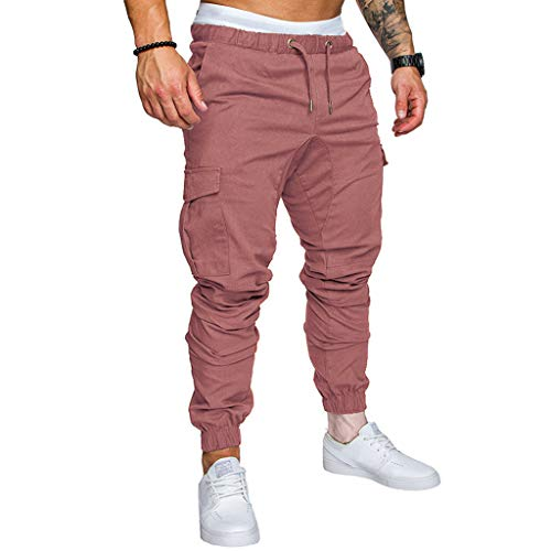 ✦◆HebeTop✦◆ Mens Athletic Workout Sweatpants Casual Trousers with Cargo Pockets Coffee from HebeTop➟Men's Clothing
