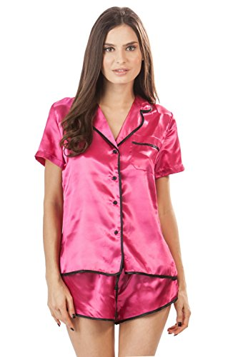Ashford & Brooks Women's Satin Short Sleeve Pajama Shorts Set - Fuschia - X-Large