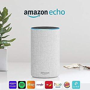 Amazon Echo (2.ª generación) - Altavoz inteligente con Alexa, tela de color gris claro