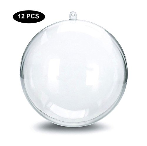 LFM 12PCS DIY Christmas Ball Ornaments Clear Plastic Acrylic Bath Bomb Crafting Mold-Ball 80mm