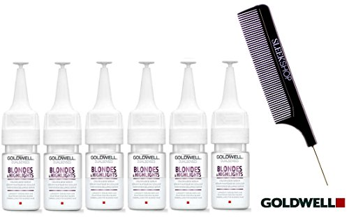 Goldwell Dualsenses BLONDES & HIGHLIGHTS Color Lock Serum, 18ml / 0.6oz vials (with Sleek Steel Pin Tail Comb) (6-pack, Blondes & Highlights) ()