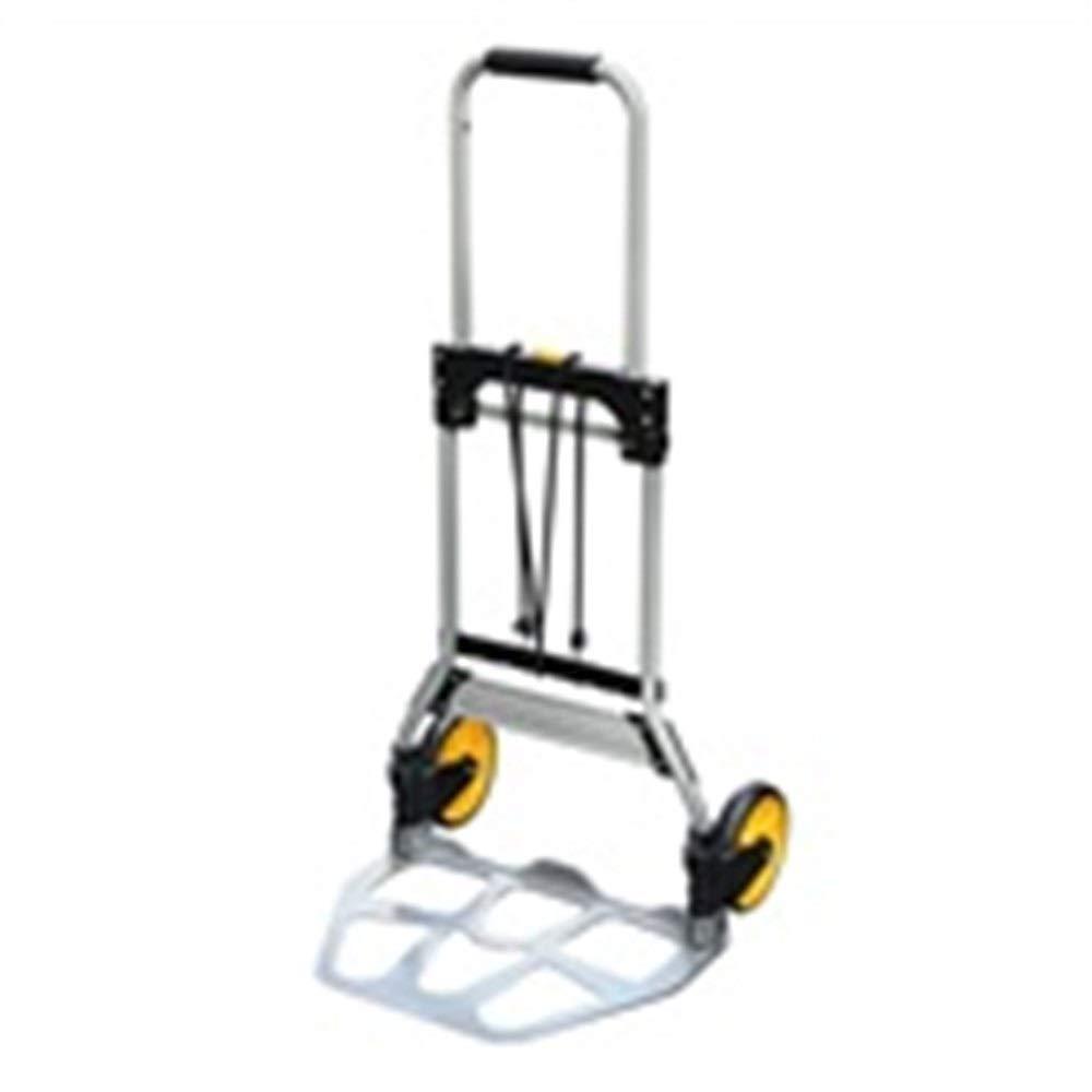 JIANPING Trolley Home Folding Portable Mute Trolley Car Shopping Cart Luggage Cart Truck Trailer Aluminum Alloy Can Bear 75KG Shopping Trolley (Color : Silver)
