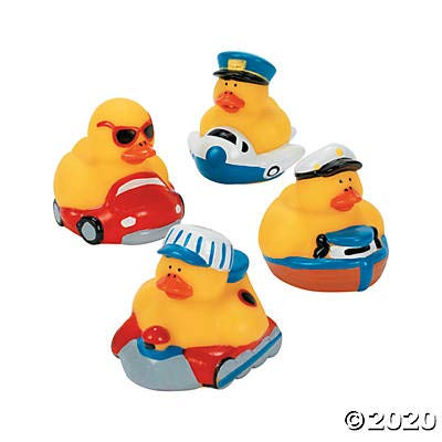 One Dozen (12 pc) Transportation Rubber Ducks: Toys & Games