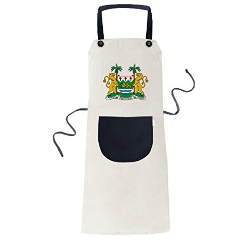 DIYthinker Sierra Leone Africa National Emblem Apron Cooking Bib Black Kitchen Pocket Women Men by DIYthinker
