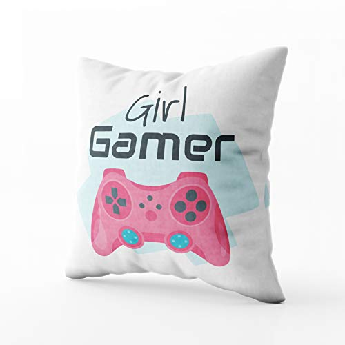 (Musesh Holiday Throw Pillow Case, Vector Cartoon Style Illustration of Pink Game Controller Girl Gamer Typography Slogan for for Sofa Home Decorative Pillowcase 18X18 Inch Pillow Covers)