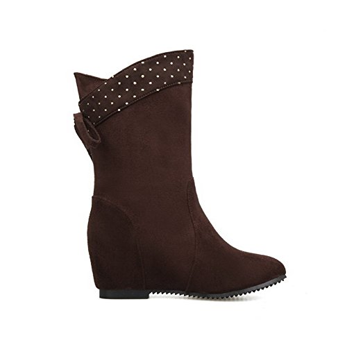 Allhqfashion Women's Pull-On Round Closed Toe Kitten Heels Imitated Suede Low-Top Boots Brown H6QCNv