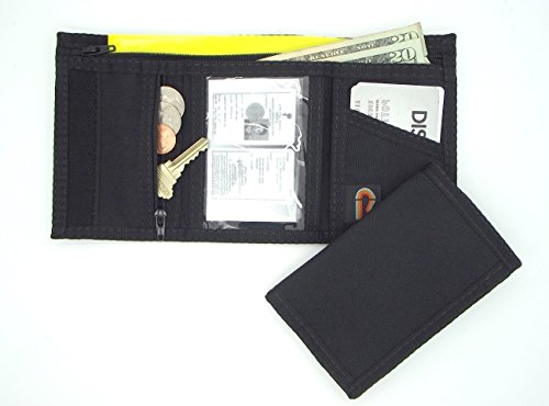 New Tri-fold Hook and Loop Wallet with Zipper Coin Pocket – Black – MADE IN U.S.A.