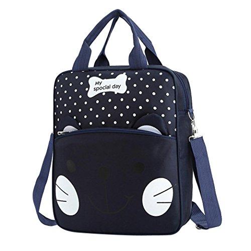 Women Cute Owl Pattern Small Shoulder Bag Blue Faux Leather Cross Body Bag - 2