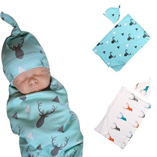 Sleep Sack For Toddlers,Sunbona 2Pcs Newborn Baby Organic Cotton Blanket Swaddle Wrap Print Sleeping Bag Kids Headband Set (Blue)