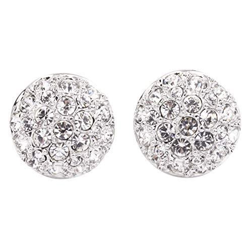 FC JORY White Gold Plated Pave AAA CZ Round Circle Disc Button Stud Earrings Clip on ()
