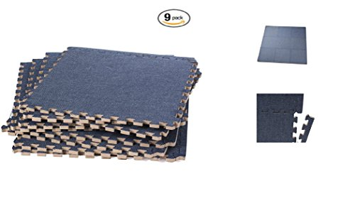Tile Edge Linen (ABOVE EDGE Soft Eva Foam Interlocking Linen Floor Tiles 9 Pack | Soft, Lightweight, Durable, Non Slip, Insulating & Stylish Puzzle Tiles | Upgrade Home Décor, Soften Hardwood (Navy))