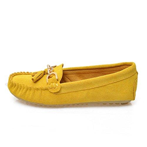 Frosted Quasten Runde Flache Schuhe Yellow