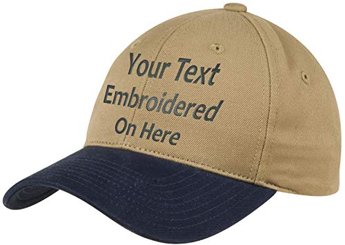 Custom Hat, Embroidered. Your Own Text. Adjustable Back. Curved Bill Many Colors (2 Tone Brushed Twill Khaki Hat/Navy Bill) (The Best Text Tones)