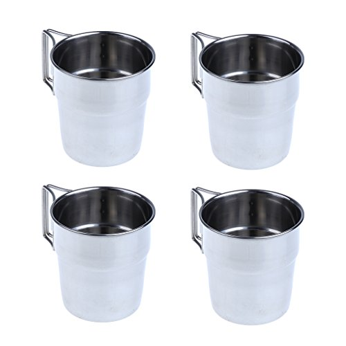 MagiDeal 4pcs Pack Stainless Steel Water Cups Outdoor Camping Coffee Mug with Folding Handle for Outdoors by Unknown (Image #9)