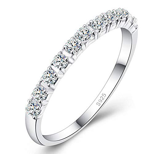 (DesirePath S925 Sterling Silver Ring Engagement Ring for Women Fashion Single Row Drill Ring)