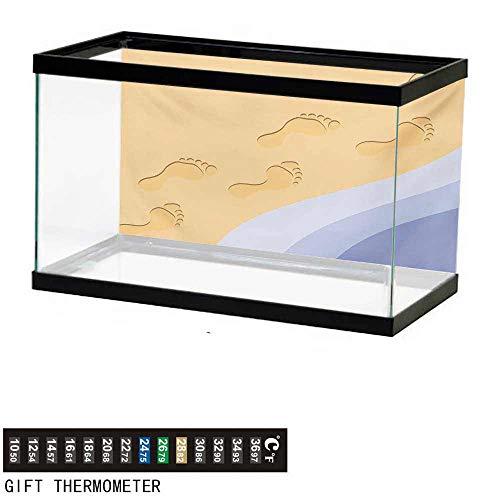 - wwwhsl Aquarium Background,Modern,Footprints Sand Realistic Print Near Ocean Waves Digital Image,Baby Blue Purple Green Apricot Fish Tank Backdrop 24