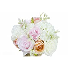 """Generic Original Hand Tie Artificial Hydrangea Rose Bouquet 10.6"""" x 6.8"""" with Men Groom Corsage for Wedding Home Party Decor (Pack of 1 Set)"""