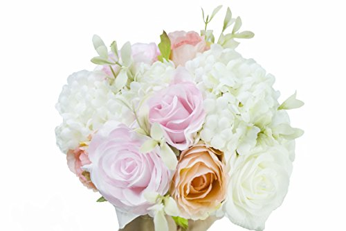 Generic Original Hand Tie Artificial Hydrangea Rose Bouquet with Men Groom Corsage for Wedding Home Party Decor (Pack of 1 Set)