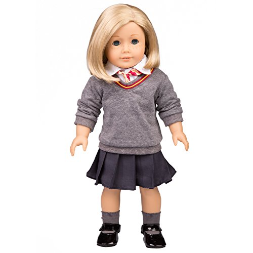 Dress Along Dolly Hermione Granger-Inspired Doll Clothes for American Girl Dolls: 6pc Hogwarts-Like School Uniform (Shirt, Skirt, Sweater, Tie, Socks and Shoes) -