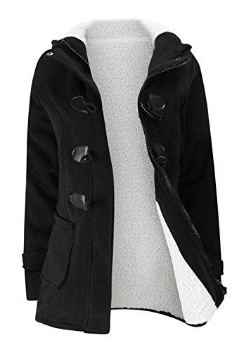 Chaud Full Polaires Doubl Sweat  Capuche Hood Hoodie Coton Duffle Coat Manteau Jacket Veste Blouson Haut Top Poche Buffalo Horn Boutonne Boutonns Zip Closure Noir