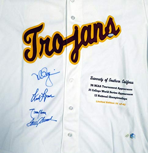 USC Tojans Legends Autographed White Jersey With 4 Signatures Including Tom Seaver, Mark McGwire, Randy Johnson & Fred Lynn Limited Edition #/42 Holo Stock #112675 - Steiner Sports Certified