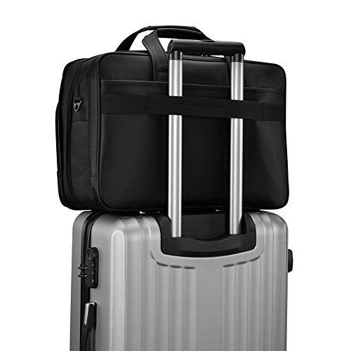 KOPACK Expandable Laptop Briefcase 17 17.3 Inch Large Business Water Resistant Shoulder Computer Bags Black by kopack (Image #5)