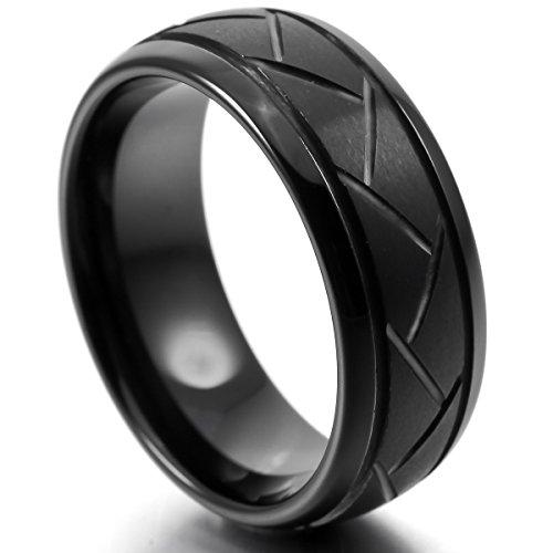MunkiMix 8mm Tungstène Bague Anneau Bague Noir Comfort Fit Mariage Engagement Fiançailles Promesse Unique Homme