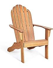Giantex Adirondack Chair Outdoor Wooden W/Ergonomic Design Acacia Chair for Yard, Patio, Garden, Poolside and Balcony Adirondack Deck Lounge Chair Armchair (1, Natural)