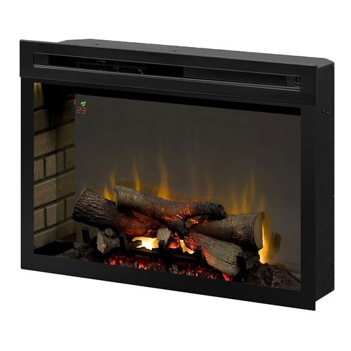 Dimplex PF3033HL Multi-Fire Xd 33-Inch Electric Firebox with Faux Logs Bed, Black (33 Inch Built In Electric Fireplace)