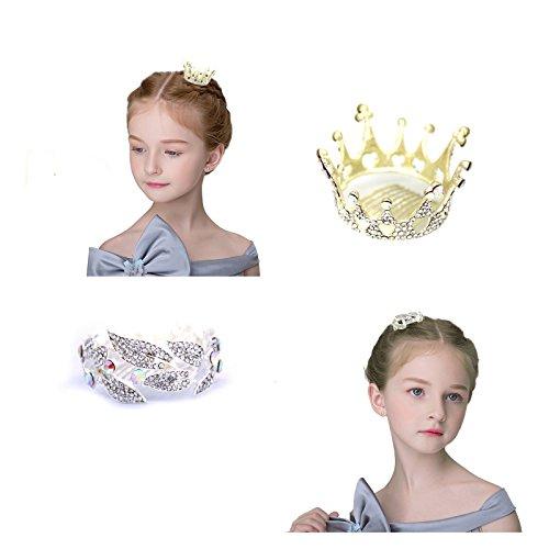 Princess Crown Set for Girls - Bridal Wedding Rhinestone Mini Birthday Tiara ( 2 Pieces ) - Mean Girls Inspired Halloween Costumes