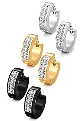 Jstyle Stainless Steel Womens Mens Hoop Earrings Huggie Earrings CZ Piercings 18G by Jstyle