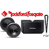 Rockford Fosgate P3D4-12 Punch P3 12 subwoofer w/ dual 4-ohm voice coils (PAIR) & Rockford Fosgate T1000-1bdCP Power Series mono sub amplifier 1000 watts RMS x 1 at 2 ohms & SOTS Lanyard