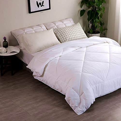 INGALIK All-Season Bed Comforter Best Soft Down Alternative Quilted Comforter - Summer Cooling-Machine Washable (White, King 90 x 102 inches)