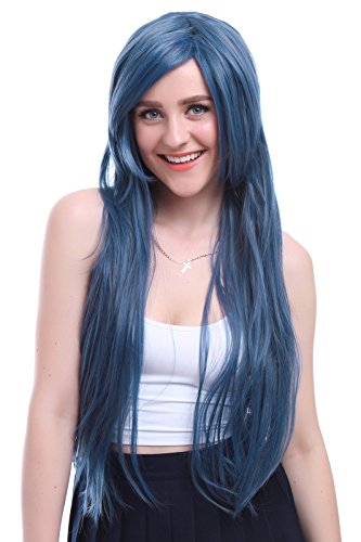 League Of Legends Brand Costume (Nuoqi Women's Anime Dark Blue Mix Gray Straight Cosplay Hair Wig)