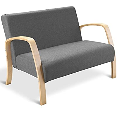 Giantex Modern Accent Wooden Armchair, Contemporary Fabric Upholstered Lounge Chair, Solid Wood Frame & High-Density Foam Seat, Loveseat Chair for Living Room Bedroom Office (Gray) - 🛋️〖Multifunctional Retro Modern Accent Chair〗: Not only is this accent chair applicable to household environment, such as living room, bedroom and balcony, but also ideal for office and reception room use. This versatile chair is ideal for reading, chatting and relaxing . It also perfectly serves as a guest chair. 🛋️〖Ergonomic Design with Spacious Seat〗: With perfect lying angle, our lounge chair conforms to ergonomic design, which makes the backrest fit your back perfectly. Other than that, featuring spacious seats, this accent chair allows you to lean your back in it and enjoy your leisure time comfortably. 🛋️〖High Quality Wood Material〗: Constructed by wood frame, the arm chair is stable and durable, which has the bearing capacity of 550lbs. At the meanwhile, wood material has clear wood grain and natural color, beautiful and natural. Except for that, the armrest is made of birch, which offers smoother touch. - living-room-furniture, living-room, accent-chairs - 41rBUNo3HsL. SS400  -