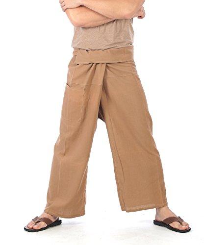 CandyHusky's Men Women Plus Size Fisherman Wrap Pants Yoga Pants Thick Cotton (Light Brown)