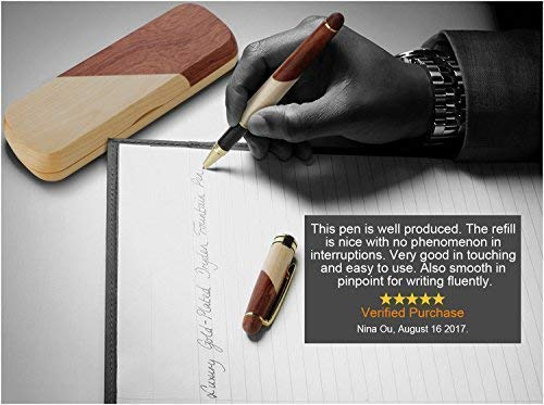 Wood Ballpoint Pen, Handcrafted Wooden Gel Pen Set with Gift Case, Elegant Fancy Gift Pen Set with Box for Signature Calligraphy Executive Business