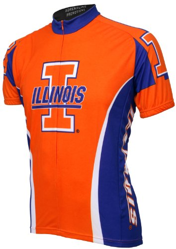 Illinois Cycling Jersey - NCAA Illinois Cycling Jersey,Large,Orange/Purple/White