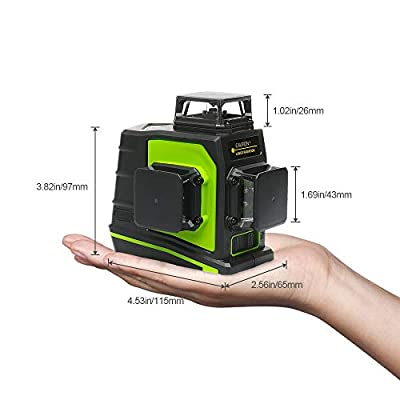 Huepar 3D Green Beam Self-Leveling Laser Level 3x360 Cross Line Laser Three-Plane Leveling and Alignment Line Laser Level -Two 360 Vertical and One 360 Horizontal Line -Magnetic Pivoting Base
