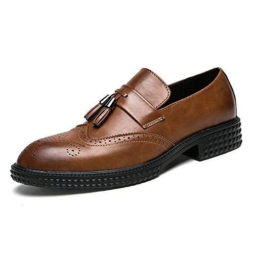 Marron 43 EU CHENDX Chaussures, Tassel Classique de la Mode des Hommes de la Sculpture Oxford Décontracté Chaussures Confortables Brogue Outsole (Couleur   Marron, Taille   43 EU)