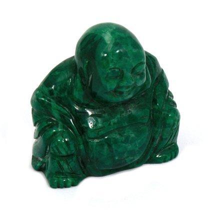 CrystalAge Malachite Howlite Carved Sitting Buddha Statue