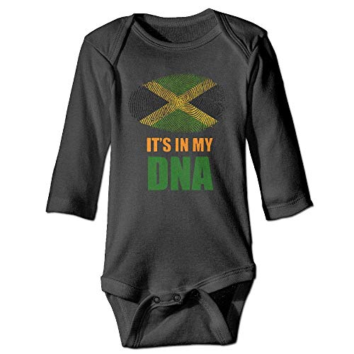 Infant Baby Boys Girls Long Sleeve Baby Clothes Jamaican It's in My DNA Jamaica Flag Print Jumpsuit Onesie Black ()
