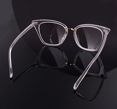d043fa39a ... Beison Customize Prescription Glasses - Womens Cat Eye Mod Fashion  Eyeglasses Frame Clear Lens (Transparent ...